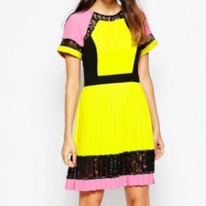 French Connection Arrow Lace Dress Pink and Yellow